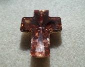 "40 x 30mm Cross Pendant ""Rose"" Swarovski Crystal"