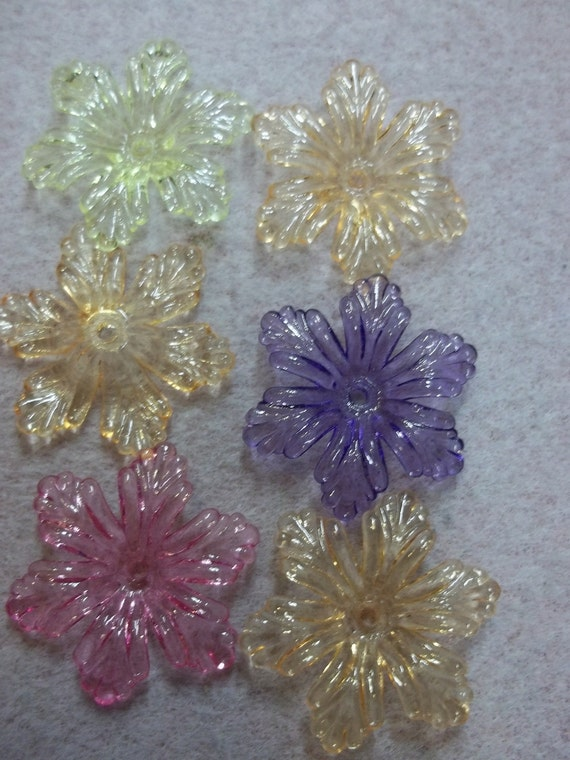 6 Petal Large Transparent Resin Flower (6pk x 3) 18 Pieces