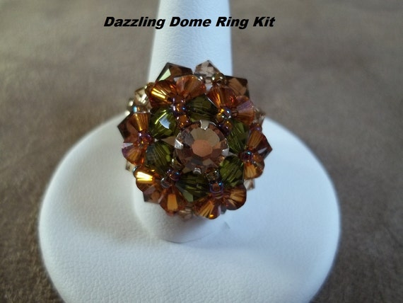 KIT Dazzling Dome Ring Fall Colors (Green/Topaz) Jewelry Making