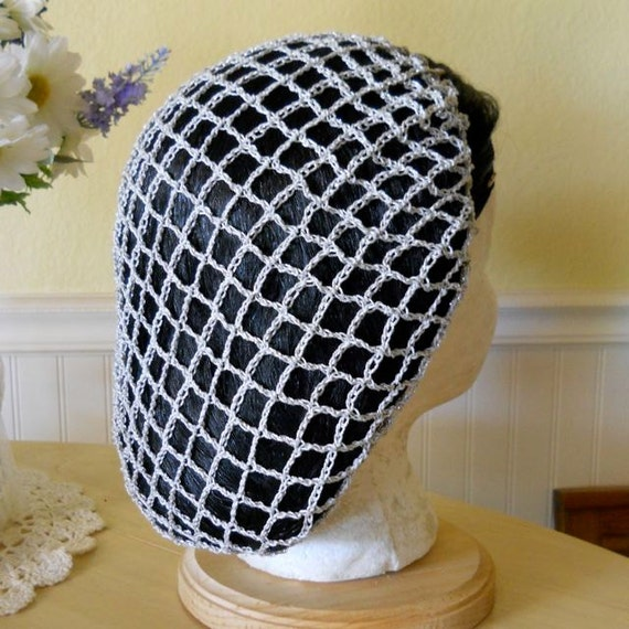 SALE! Metallic Silver/Silver 1940s Style Snood Hair Net