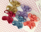 0.80 Ea. - 5 Small BITTY Hair Bows for Baby, Infant, and Toddler - ANTIQUE-VINTAGE Theme