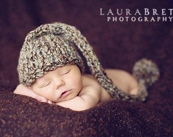 Chunky Multicolored Stocking Cap with Giant Pom Pom - newborn photo prop