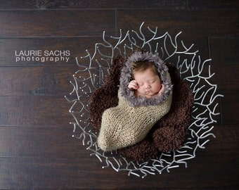 SALE - Oatmeal Cocoon with Taupe Faux Fur Trim - newborn photo prop