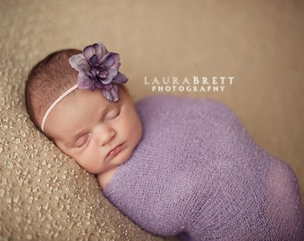 Simple Flower Headband in LAVENDER - newborn photo prop