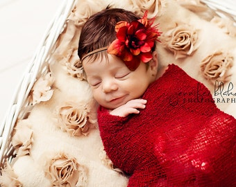 Simple Flower Headband in VINTAGE RED with Feathers - newborn photo prop