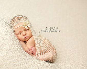 Loose Knit Cashmere Blanket Wrap in Beige with Matching Headband - newborn photo prop