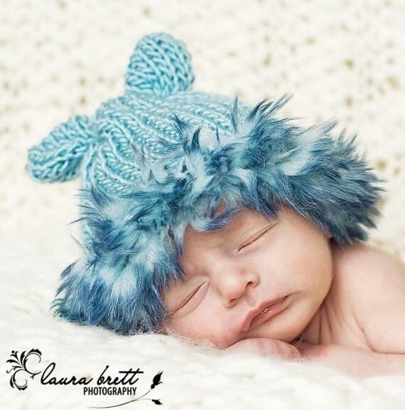 Blue Bunny Ears Hat with Blue Faux Fur Trim - newborn photo prop