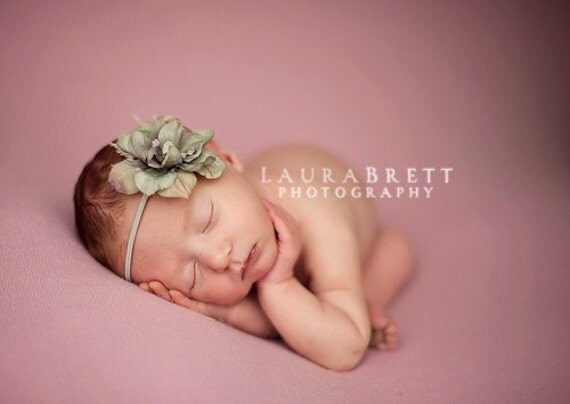 Simple Flower Headband in GREY/GREEN - newborn photo prop