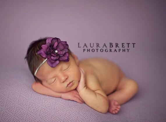 Simple Flower Headband in EGGPLANT - newborn photo prop