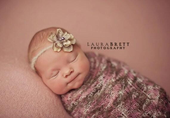 Vintage Blossom on Mohair Headband - peach or lavender - newborn photo prop