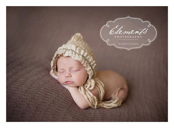 Ultra Fine Merino Wool Bonnet with Tassels and Silk/Rhinestone Trim - newborn photo prop