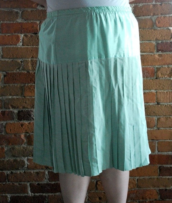 vintage mint green pleated skirt plus size 3x by