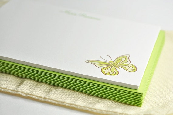 Eco friendly Green Butterfly Stationery - Set of 10