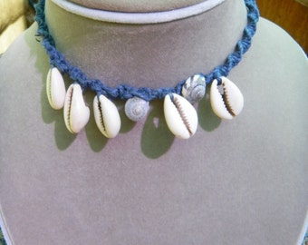 Macrame Blue Hemp Necklace with Shells