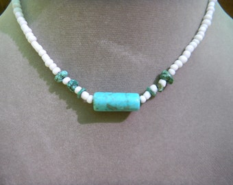 White Glass Beads with Turquoise Accents Necklace