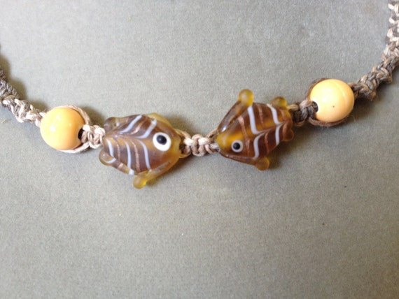 Multi-Natural Hemp Macrame Necklace with Kissing Glass Fish