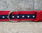 Stars, Stars, Patriotic Dog Collar, Side Release Buckle Style, In M, L, XL
