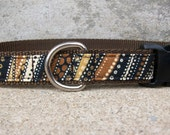 Dog Collar, Brown and Tan Print In Size L Only - SALE