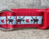 Dog Collar, Holiday or Christmas Reindeer, Side Release Buckle Style, S, M, L, XL