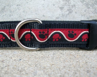 SALE - Paw Prints Dog Collar - In M, L, XL, Side Release Buckle in Plastic or Metal