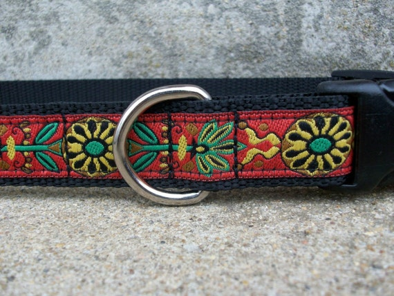 Dog Collar Folk Flowers Yellow and Orange, Side Release Buckle Style, XL Only Last One