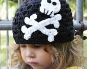 Punk Princess Skully Beanie - Crochet Pirate/Punk/Rock Hat