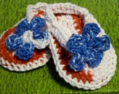 Crochet Flip Flops, size XS - Red, White and Blue Ombre - Great for 4th of July and All Summer Long