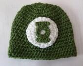 Hero Headwear - Green Lantern Inspired Crochet Beanie in Kelly Green/White