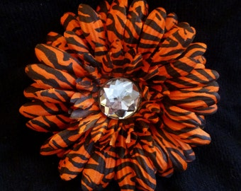 Orange/Black Zebra Daisy - Rhinestone Flower Hair Clip