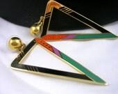 Zemi 3 Inch Laurel Burch Triangle Enamel Earrings