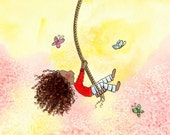 Girl on Swing - Long Curly Brown Hair - SWINGING WITH BUTTERFLIES - Art Print - Children