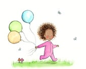 Baby Girl in Pink  - RUTHIE'S BALLOONS - Art Print - Nursery