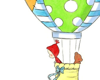 Baby Boy in Hot Air Balloon - TO THE CLOUDS -  Art Print