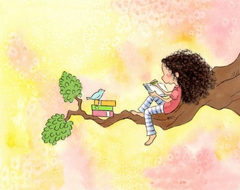 Brunette or Blonde Girl With Long Curly Hair Writing With Bluebird - The GIRL Who WROTE STORIES  - Art Print - Children