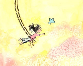 Brunette Girl on Swing and Bluebird - The GIRL Who COULD FLY - Art Print Children