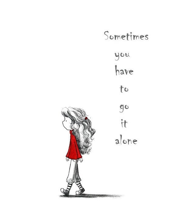 Walking Girl With Curly Hair in Red - SOMETIMES You HAVE to Go It ALONE - Art Print