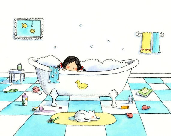 Brunette Girl and White Cat - THE BUBBLE BATH  - Art Print