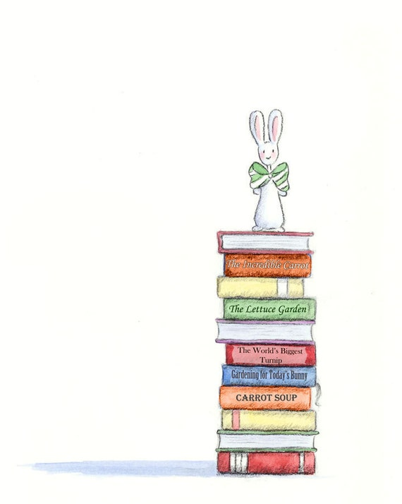 Books and Bunny in Big Green and White Striped Bow Tie - A BUNNY'S Favorite Books - Art Print