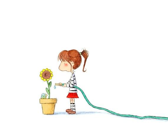 Girl Watering Sunflower Brunette Auburn Hair  - TABITHA - Fine Art Print