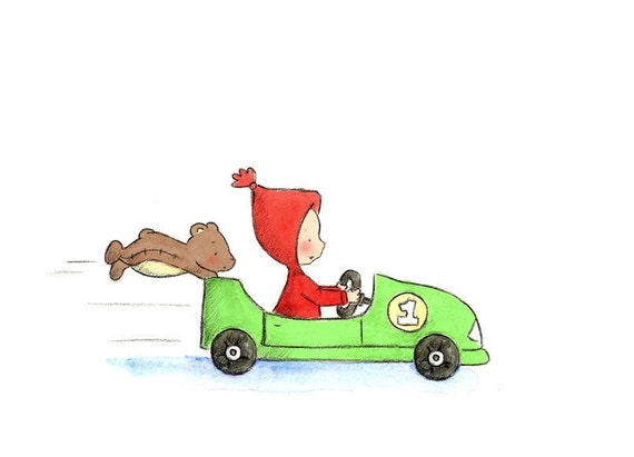 Baby Toddler Boy in Red and Brown Teddy Bear - Apple Green Car -  The RACE CAR DRIVER  - Art Print - Nursery