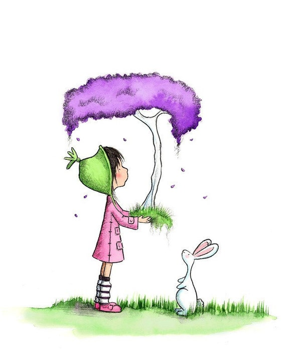 Brunette Girl With Purple Tree and Bunny  - PURPLE LEAVES Rain DOWN -  Art Print Children
