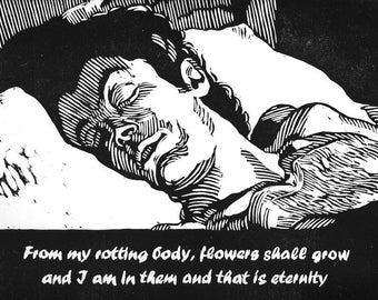 Sleeping Head Woodcut