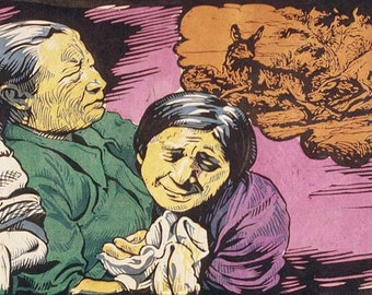 Woodcut Women Weeping