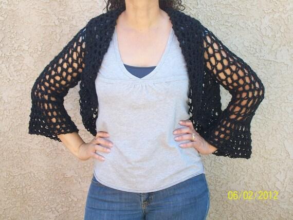 Black Crocheted Shrug/Sweater