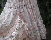 RESERVED for SHERI.. Vintage Kitty.. vintage crochet.. romantic full circle skirt.. shabby chic, lace, roses, pink and ecru..