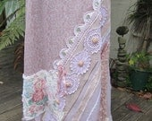 Vintage Kitty... dusky pinks, mauve.. upcycled vintage.. doilies... lace..roses, crochet, ooak. crochet, silk ribbon LARGE