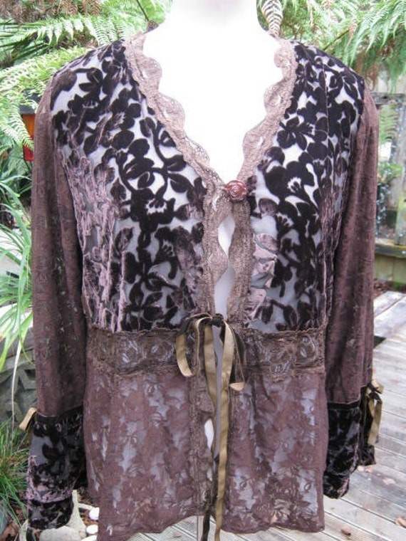 SIREN... lace and velvet steampunk..gypsy couture.. chocolate brown, jet black or passionate purple. LARGE/ XL