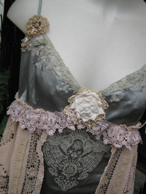 reserved for TONIA... SALE..  Vintage Kitty...  tea stained, lacey  embroidered cami,  dark sage green and ecru ... Med - LARGE