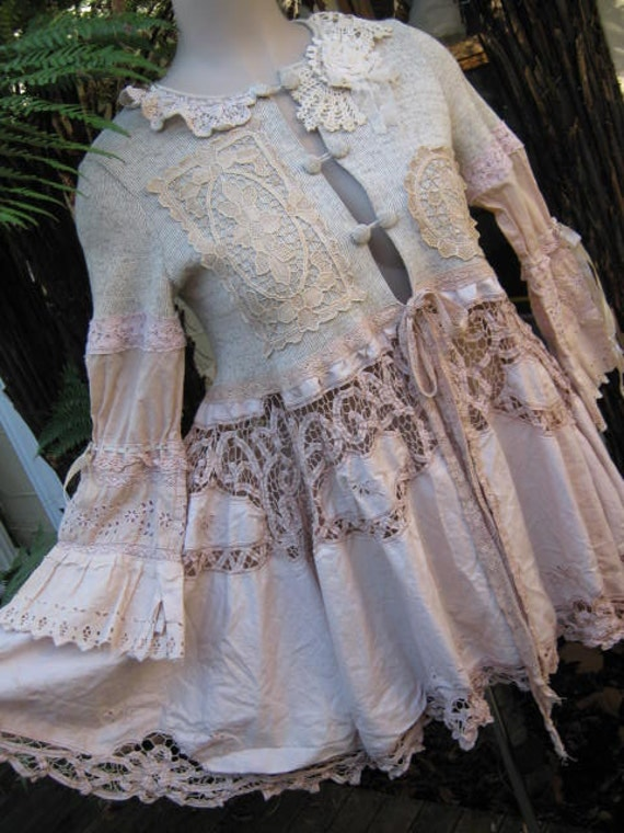 Vintage Kitty... luscious garden party tea coat... upcycled  BATTERNBURG, crochet, roses. MED-XL