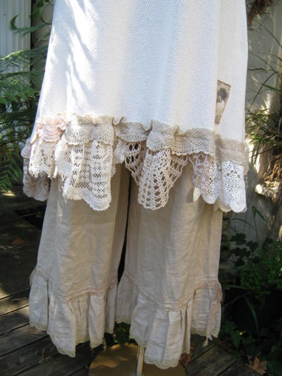 LINEN BLOOMERS.. vintage kitty.. lily hannah. dark ecru.. cotton crochet, shabby chic, gorgeous.. med - XL
